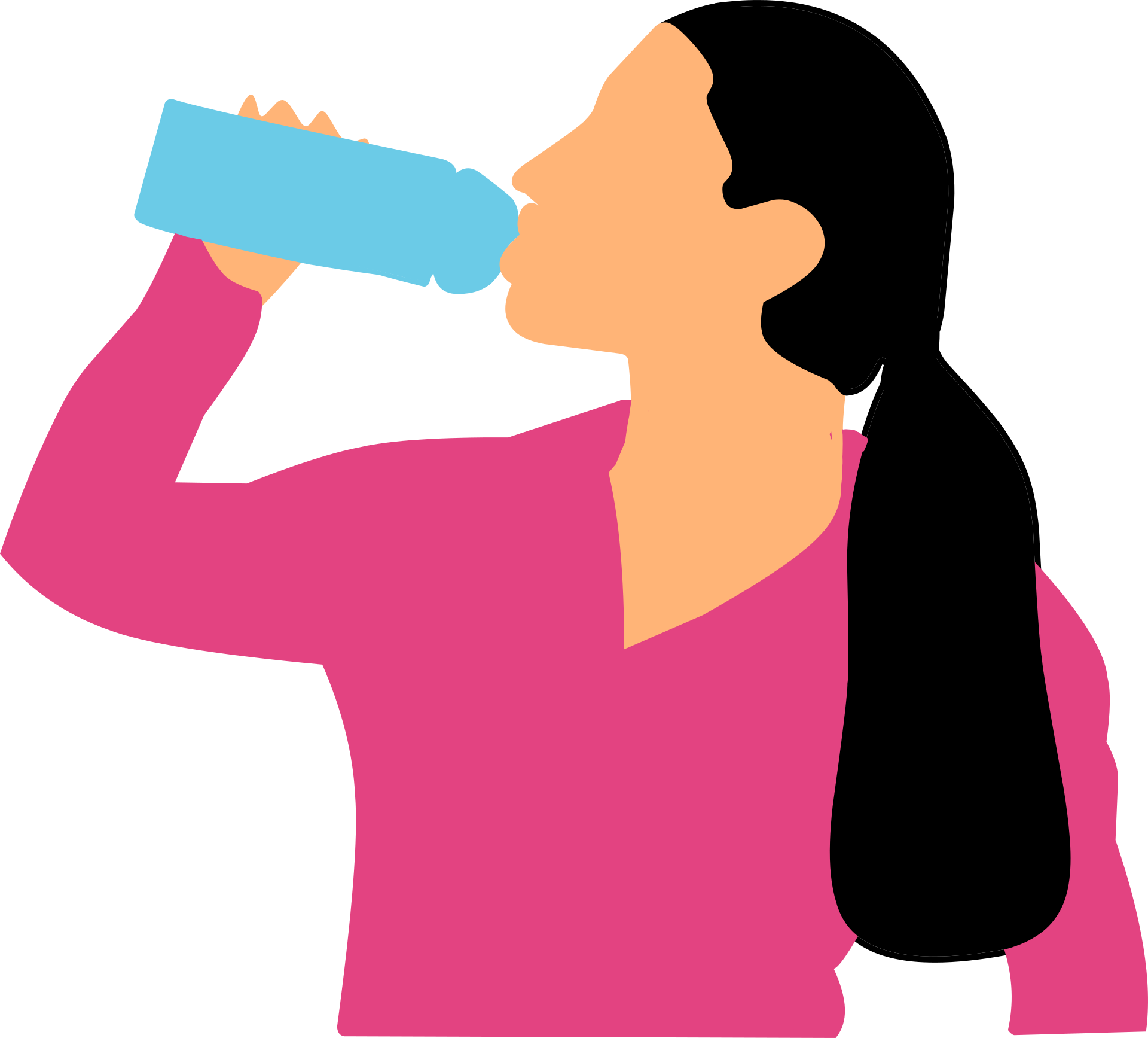 drinking, water, woman