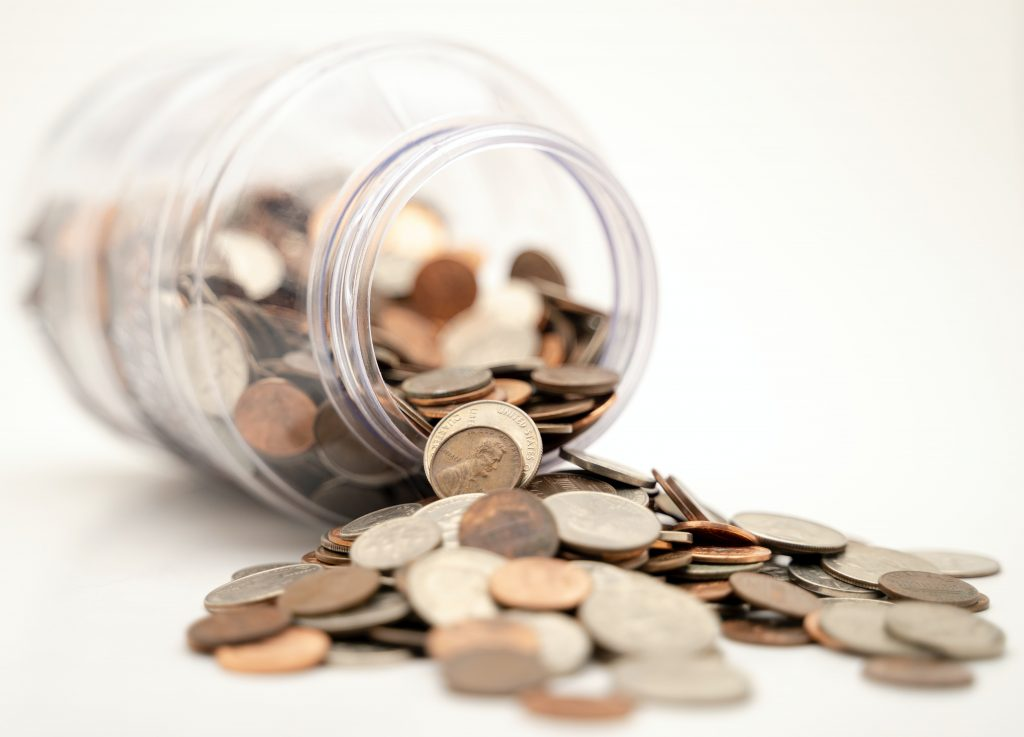 spilled coins from the jar